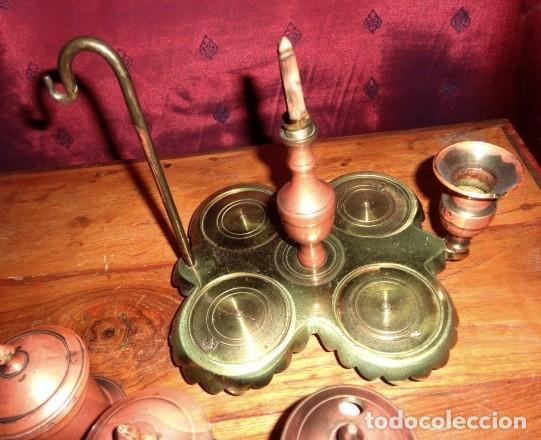 Antigüedades: Escribania de bronce con palmatoria y campanilla - Foto 7 - 155497438