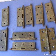 Antigüedades: LOTE 9 BISAGRAS MANCA, DE LATON, PLACA 9X6CM ABIERTO, 11,5CM APROX TOTAL, GROSOR 3MM APROX. Lote 155639146