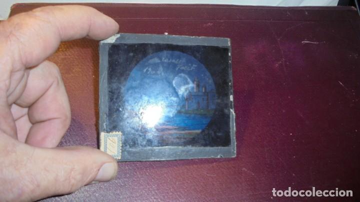 ANTIGUA PLACA DE CRISTAL PAISAJE PARA LINTERNA MÁGICA 9X8,5 CM. (Antigüedades - Técnicas - Aparatos de Cine Antiguo - Linternas Mágicas Antiguas)