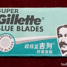 Antigüedades: HOJA DE AFEITAR GILLETTE BLUE BLADES EN CHINO. Lote 155713158