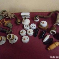 Antigüedades: LOTAZO MECANISMOS ELECTRICOS:INTERRUPTORES,ENCHUFES,PORTALAMPARAS,ETC.... Lote 155753446