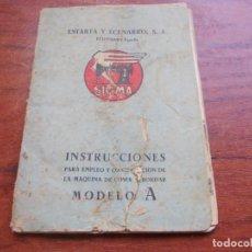 Antiquités: INSTRUCCIONES SIGMA MODELO A, CERTIFICADO DE GARANTÍA, ESTADO REGULAR VER FOTOS. Lote 181135992