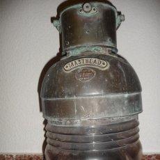 Antigüedades: FANAL NAUTICO, EN BRONCE O COBRE, SUCIO DE INTERPERIE, 52X25 CMS. ELECTRICO,LLEVA CABLE. Lote 155934754