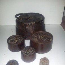 Antigüedades: LOTE DE 6 ANTIGUAS PESAS DE HIERRO LA GRANDE 5 KG . Lote 155957690