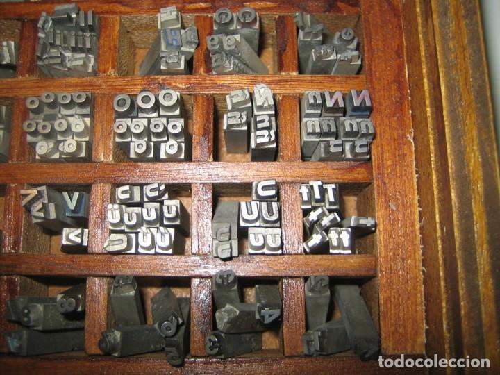Antigüedades: imprenta, letras de plomo, 14 futura cursiva negra, caja 40 apartados - Foto 4 - 155968578