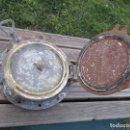 Antigüedades: ANTIGUO PORTILLO OJO DE BUEY DE BARCO, MARCO Y TAPA HIERRO, VENTANA Y PALOMILLAS METAL, 25KG + INFO. Lote 155979082
