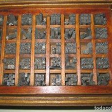 Antigüedades: IMPRENTA, LETRAS DE PLOMO, 12 FOLIO SUPER ANCHA, CAJA 40 APARTADOS. Lote 156035198