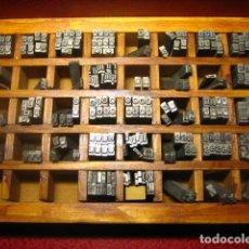 Antigüedades: IMPRENTA, LETRAS DE PLOMO, 16 FOLIO REDONDA MINUSCULAS, CAJA 40 APARTADOS. Lote 156050810