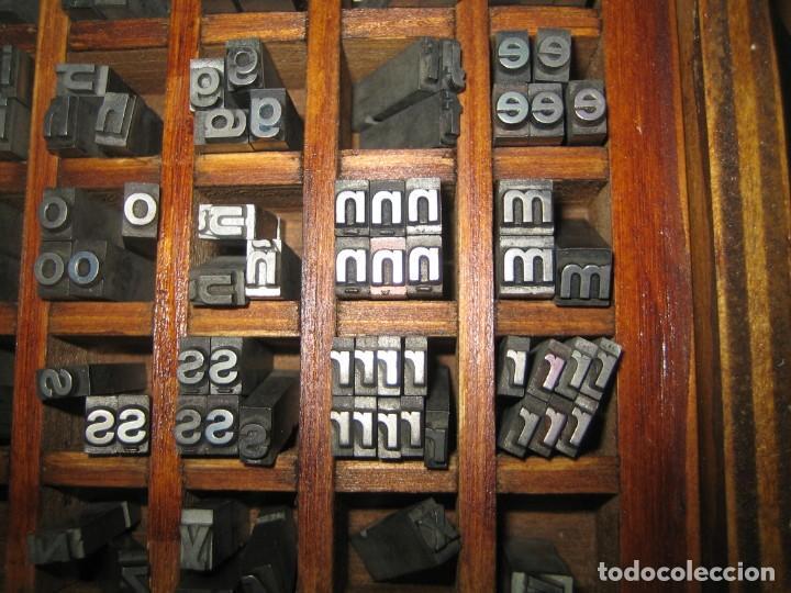 Antigüedades: imprenta, letras de plomo, 20 FOLIO NEGRA MINUSCULAS, caja 40 apartados - Foto 5 - 156063126
