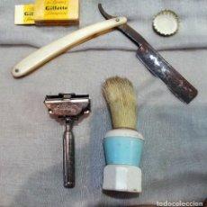 Antigüedades: BARBERÍA ANTIGUA, CONJUNTO DE OBJETOS: NAVAJA, MAQUINILLA.... Lote 156534398