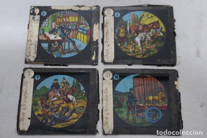 4 CRISTALES PINTADOS PARA LINTERNA MÁGICA. SERIE EL QUIJOTE (Antigüedades - Técnicas - Aparatos de Cine Antiguo - Linternas Mágicas Antiguas)