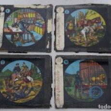 Antigüedades: 4 CRISTALES PINTADOS PARA LINTERNA MÁGICA. SERIE EL QUIJOTE. Lote 156543650