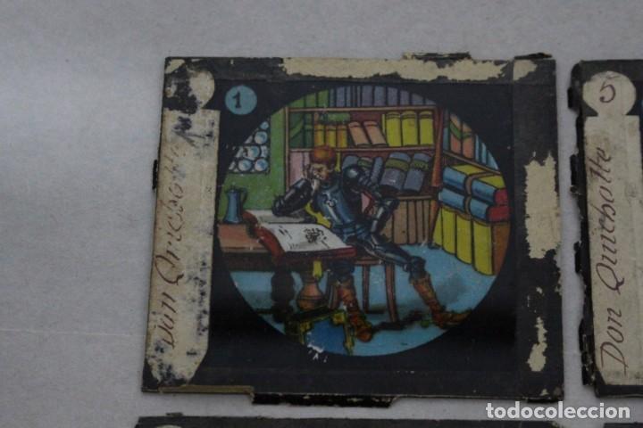 Antigüedades: 4 cristales pintados para linterna mágica. serie El Quijote - Foto 2 - 156543650