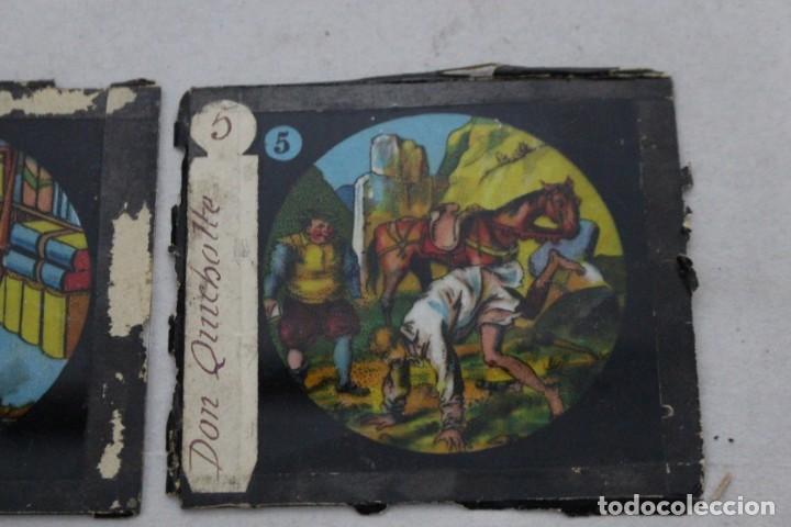 Antigüedades: 4 cristales pintados para linterna mágica. serie El Quijote - Foto 3 - 156543650