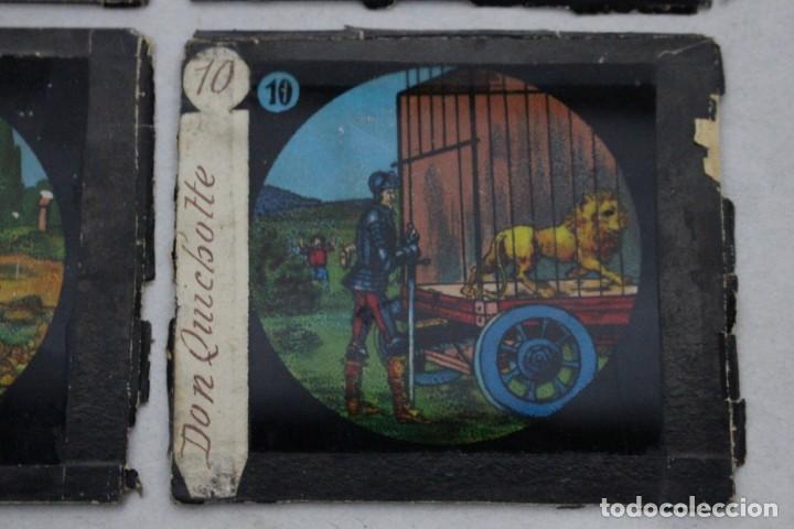 Antigüedades: 4 cristales pintados para linterna mágica. serie El Quijote - Foto 5 - 156543650