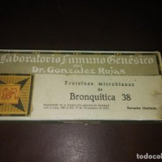 Antigüedades: CAJA DE LABORATORIO GONZALEZ ROJAS PROTEINAS MICROBIANAS BRONQUITICA AMPOLLAS MEDICINA MEDICAMENTO . Lote 156918442