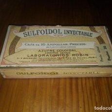 Antigüedades: ANTIGUA CAJA PRECINTADA DE AMPOLLAS LABORATORIOS ROBIN PARIS SULFOIDOL INYECTABLE MEDICAMENTO. Lote 156956290