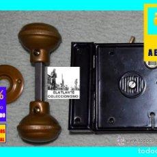Antigüedades: ANTIGUA CERRADURA DE SUPERPONER COMPLETA NUEVA CON LLAVES Y ACCESORIOS - EN CAJA - INGLESA - 42 €. Lote 151234653