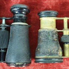 Antigüedades: PAREJA DE BINOCULARES DE ÓPERA. METAL CUBIERTO DE PIEL. SIGLO XIX-XX. . Lote 157661994