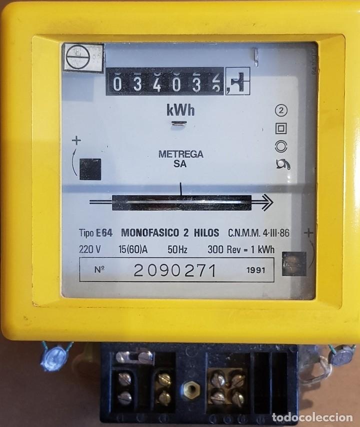 CONTADOR MONOFÁSICO 2 HILOS / METREGA S.A. / AÑO 1991 / COMO NUEVO / CON PRECINTOS. (Antigüedades - Técnicas - Herramientas Profesionales - Electricidad)