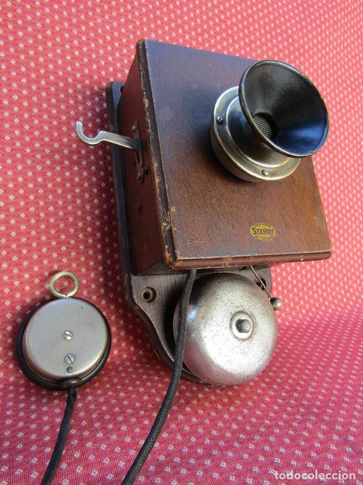 ANTIGUO TELÉFONO INTERCOMUNICADOR DE MADERA, DE PRINCIPIOS DEL SIGLO XX. (Antigüedades - Técnicas - Teléfonos Antiguos)