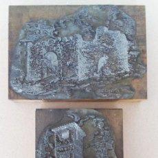 Antigüedades: RONDA, 2 ANTIGUAS Y DECORATIVAS PLACAS DE ZINC DE IMPRENTA TIPOGRAFICA.. Lote 157712450