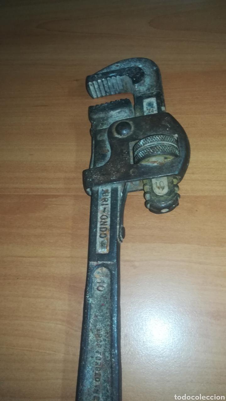 Antigüedades: Antigua llave stilson grifa marca Zubi - Ondo - Fabricada en España - Foto 2 - 157763628