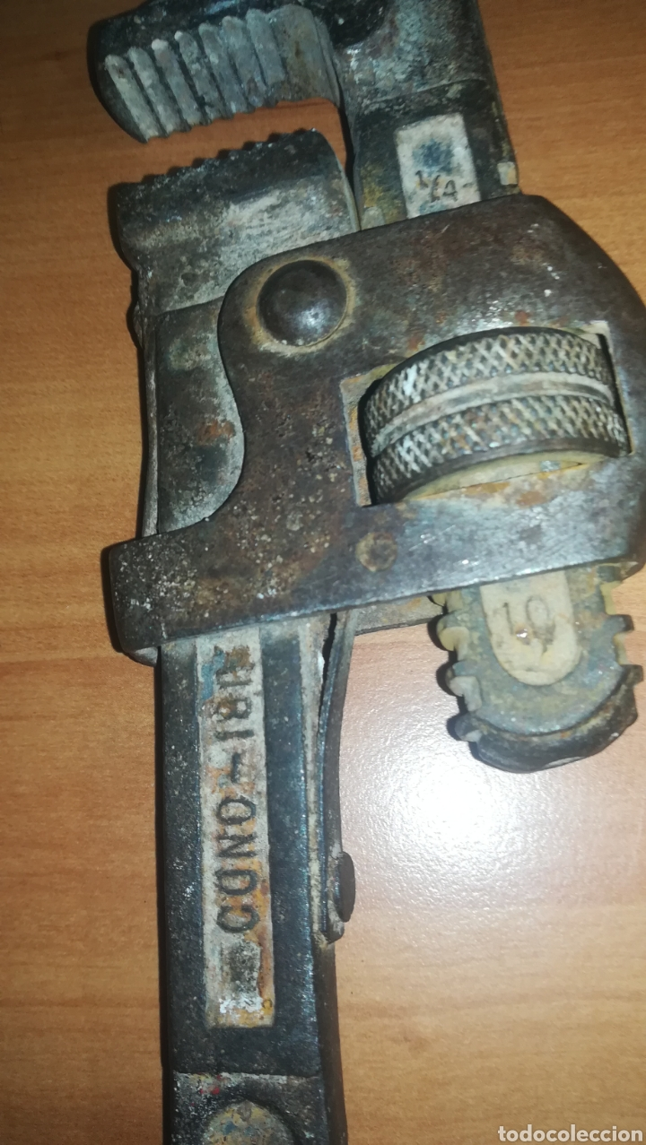 Antigüedades: Antigua llave stilson grifa marca Zubi - Ondo - Fabricada en España - Foto 3 - 157763628