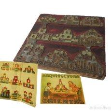Antigüedades: PLANCHA DE IMPRENTA - PLOMO SOBRE MADERA FICHA DE JUEGO DE ARQUITECTURA ORIENTAL DE MADERA AÑOS 50. Lote 157957406