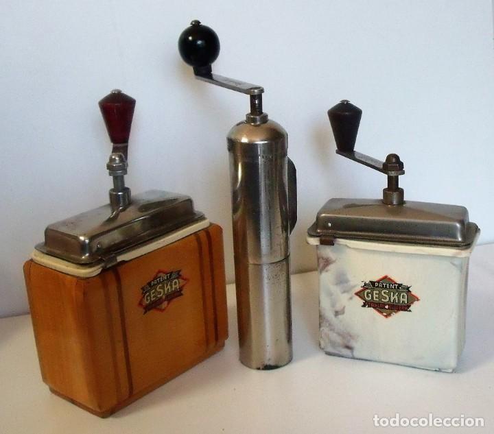 Antigüedades: 3 MOLINILLOS DE CAFÉ MARCA GESKA. MODS. LUXUX MOKKA, FORTSCHRIT, Y CAMPING. ALEMANIA. CA. 1949/1955 - Foto 3 - 158025114