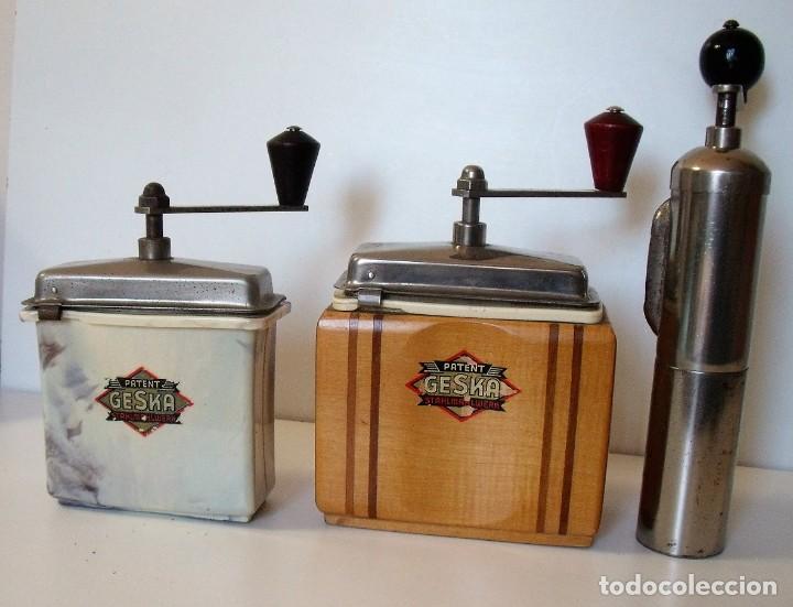 Antigüedades: 3 MOLINILLOS DE CAFÉ MARCA GESKA. MODS. LUXUX MOKKA, FORTSCHRIT, Y CAMPING. ALEMANIA. CA. 1949/1955 - Foto 4 - 158025114
