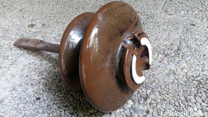 Antigüedades: Antigua jícara gigante de cerámica con soporte de hierro - Foto 4 - 158057405