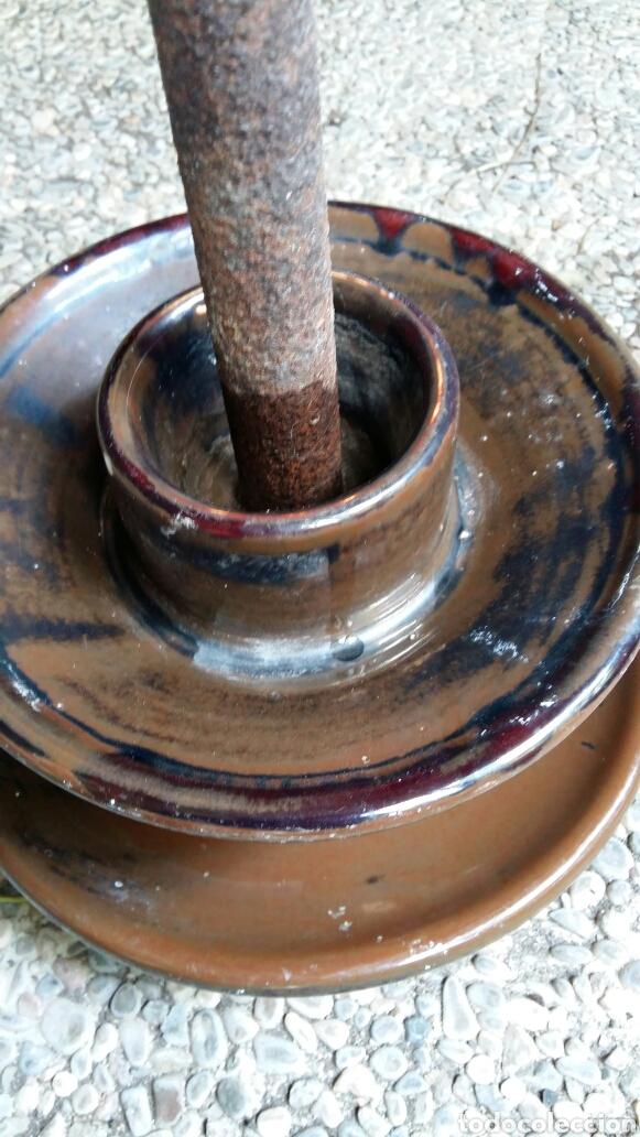 Antigüedades: Antigua jícara gigante de cerámica con soporte de hierro - Foto 8 - 158057405