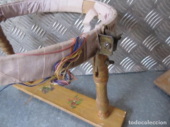 Antigüedades: Lote 3 Antiguos bastidores de madera para bordar - Foto 3 - 195069217