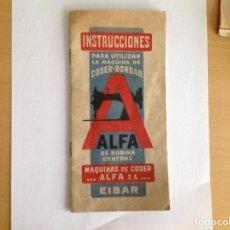 Antigüedades - Manual instrucciones máquina coser y bordar Alfa. Eibar - 158228074