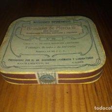 Antigüedades: CAJA AMPOLLAS ANTIGUA DE BI IODURO MERCURIO LABORATORIO BASCUÑANA CADIZ MEDICAMENTO. Lote 158312822