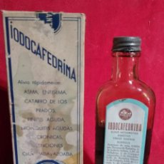 Antigüedades: CAJA Y BOTE DE VIDRIO MEDICAMENTO FARMACIA IODOCAFEDRINA. Lote 158319850