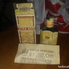 Antigüedades: CAJA CON BOTELLA ANTIGUA PRECINTADA DE TONICO NERVIOSO CERA BARCELONA MEDICAMENTO FRASCO. Lote 158336554