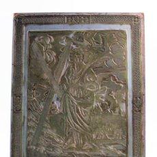 Antigüedades: PLANCHA DE ZINC, REPRODUCCIÓN IMAGEN SANTA EULALIA SIGLO XVIII. VER FOTOS. 38,5X27,5CM. Lote 158394654