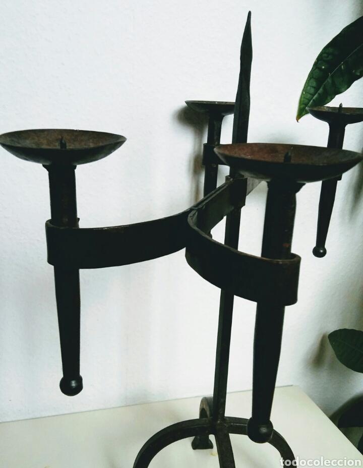 Antigüedades: Candelabro en hierro forjado - Foto 5 - 158401477