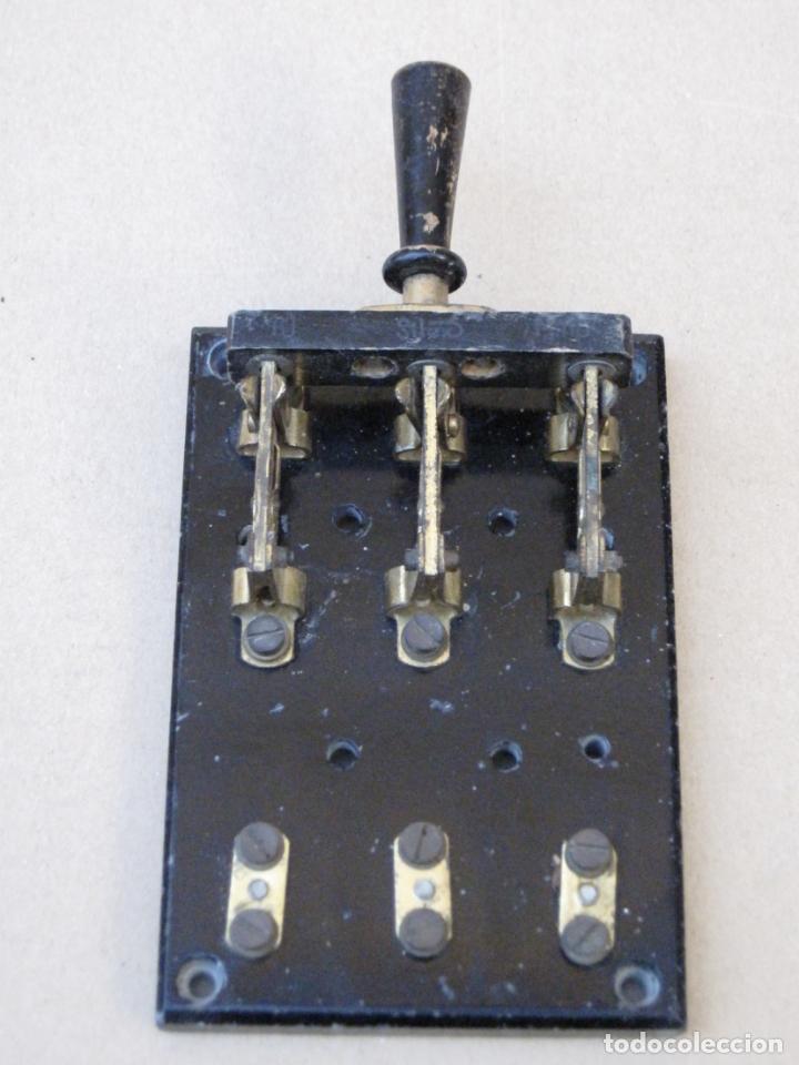 CUADRO MANDO ELECTRICO ANTIGUO - BASE DE PIZARRA. (Antigüedades - Técnicas - Herramientas Profesionales - Electricidad)