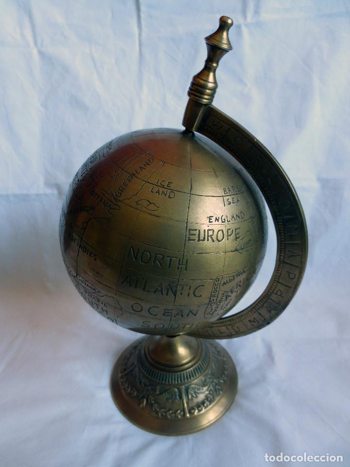 Antigüedades: GLOBO TERRAQUEO - BOLA DEL MUNDO EN BRONCE - Foto 3 - 158506374