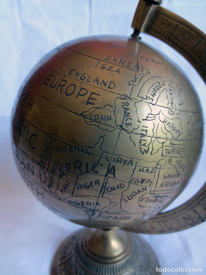 Antigüedades: GLOBO TERRAQUEO - BOLA DEL MUNDO EN BRONCE - Foto 5 - 158506374