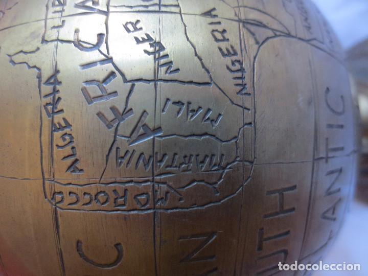 Antigüedades: GLOBO TERRAQUEO - BOLA DEL MUNDO EN BRONCE - Foto 9 - 158506374