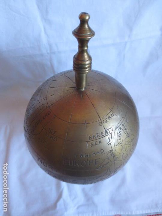 Antigüedades: GLOBO TERRAQUEO - BOLA DEL MUNDO EN BRONCE - Foto 10 - 158506374