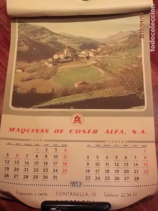 Antigüedades: CALENDARIO DE PARED AÑO 1953 - MÁQUINAS DE COSER ALFA (EIBAR) - Foto 2 - 158578906