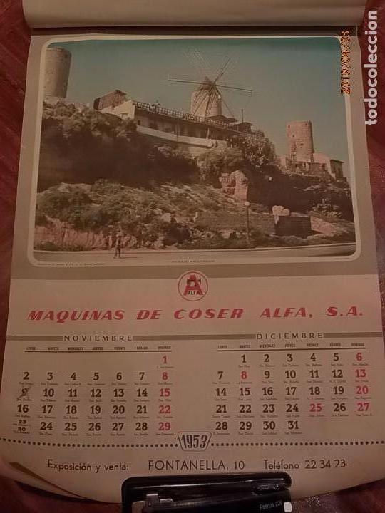 Antigüedades: CALENDARIO DE PARED AÑO 1953 - MÁQUINAS DE COSER ALFA (EIBAR) - Foto 7 - 158578906