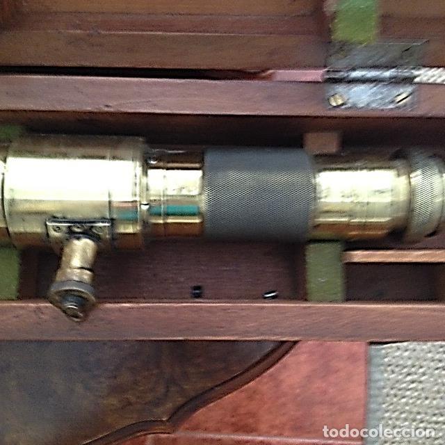 Antigüedades: telescopio artillería de bronce en su caja de caoba - Foto 2 - 158596794