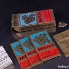 Antigüedades: PAQUETE DE HOJAS DE AFEITAR IBERIA. Lote 158720122