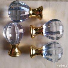 Antigüedades: 4 TIRADORES O POMOS 3,5 CM Y METAL . CAJONES MUEBLES COMODAS ETC LEER. Lote 159047382